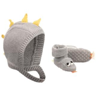 Stella McCartney Kid's Grey Organic Cotton Hat & Bootie Set