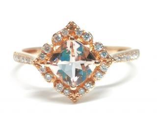 Bespoke Morganite & Diamond ring in 18ct rose gold.