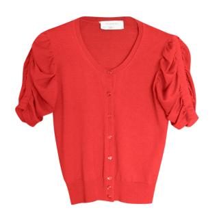 Yves Saint Laurent red ruched sleeve wool cardigan