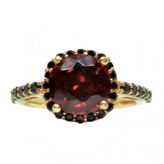 Bespoke 2.3ct Garnet and black diamond ring in yellow gold.