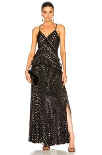 Self Portait Black & Gold Metallic Maxi Dress