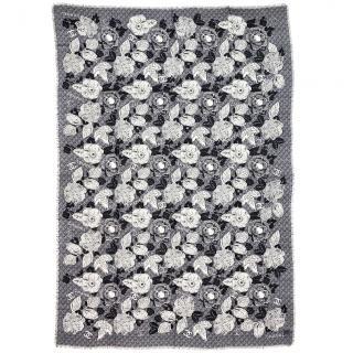 Chanel grey camellia print cashmere scarf