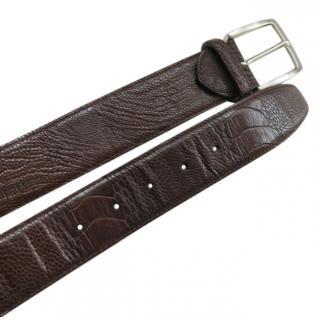 Alligator Line Brown Ostrich Leather Belt