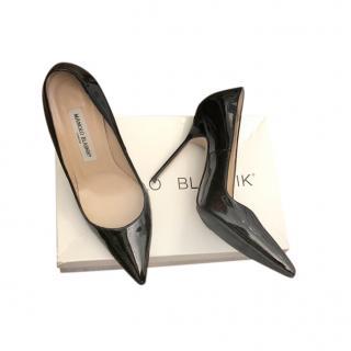 Manolo Blahnik Black Patent BB Pumps