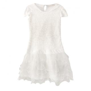 Miss Blumarine White Ruffled Tulle Dress