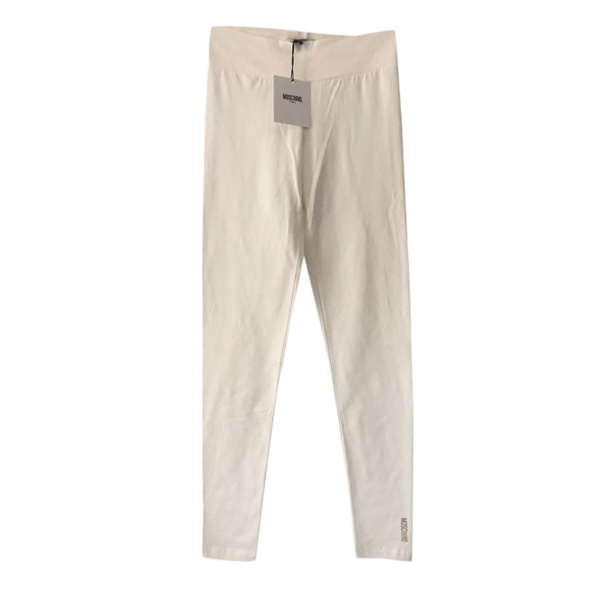 Moschino Teen White Brushed Cotton Leggings