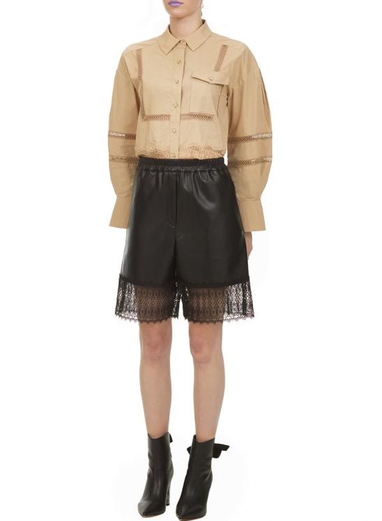 Self Portrait Faux Leather Lace Trim Bermuda Shorts