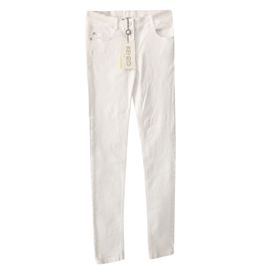 Kenzo white embroidered cotton jeans