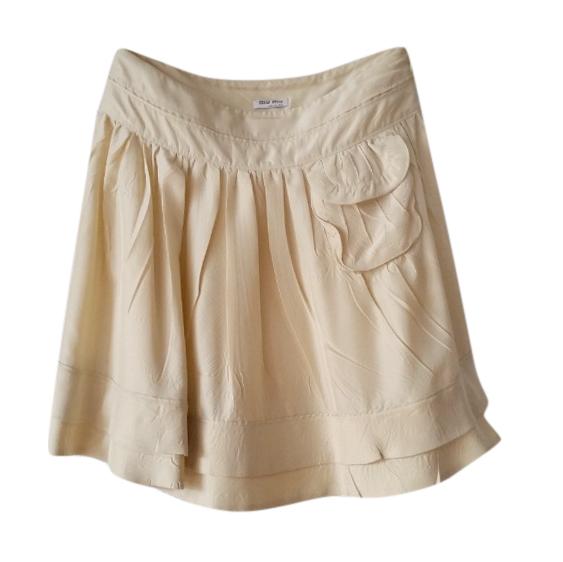 Miu Miu beige pleated mini skirt