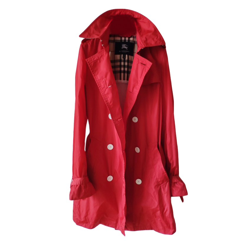 Burberry red double-breasted trench coat