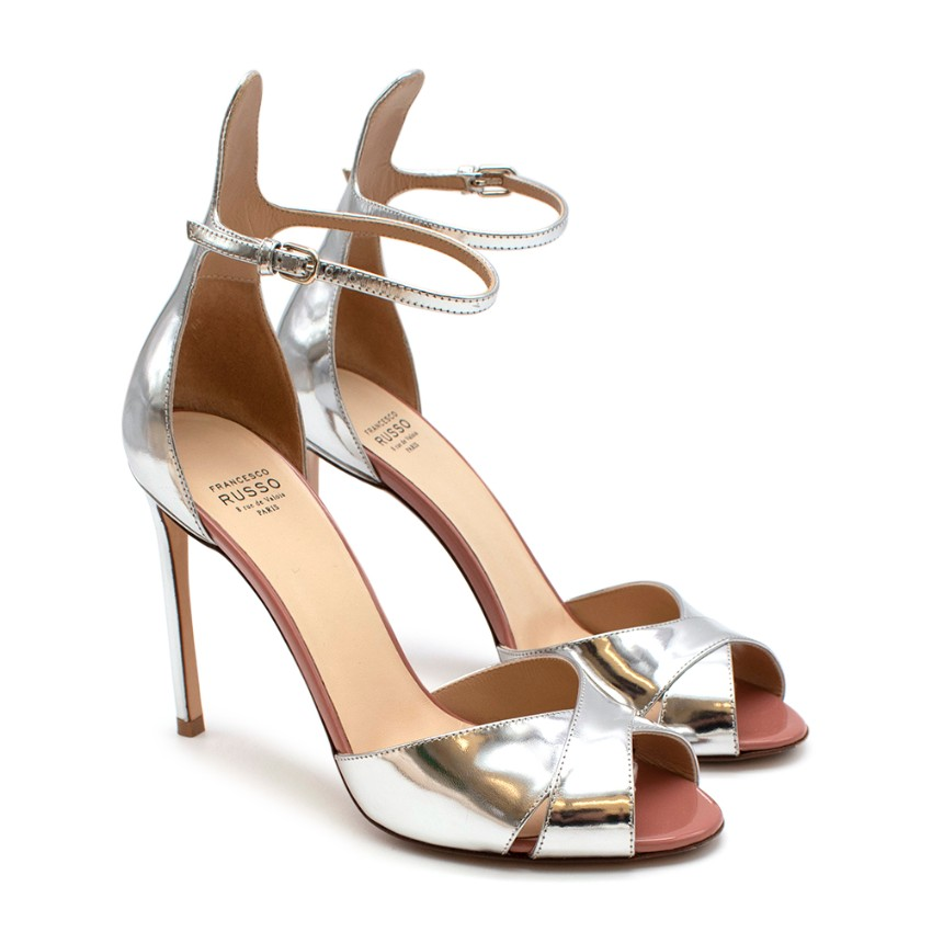 Francesco Russo Silver Mirrored Ankle Strap Sandals