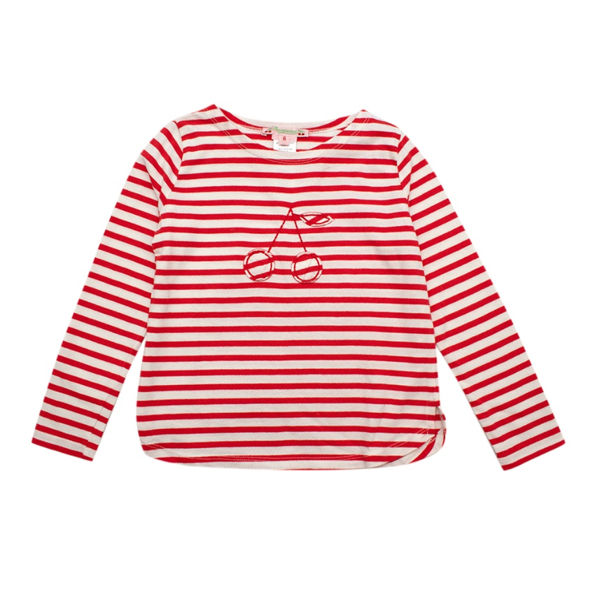 Bonpoint Girls' Red Striped Shirt with Cherry Embroidery