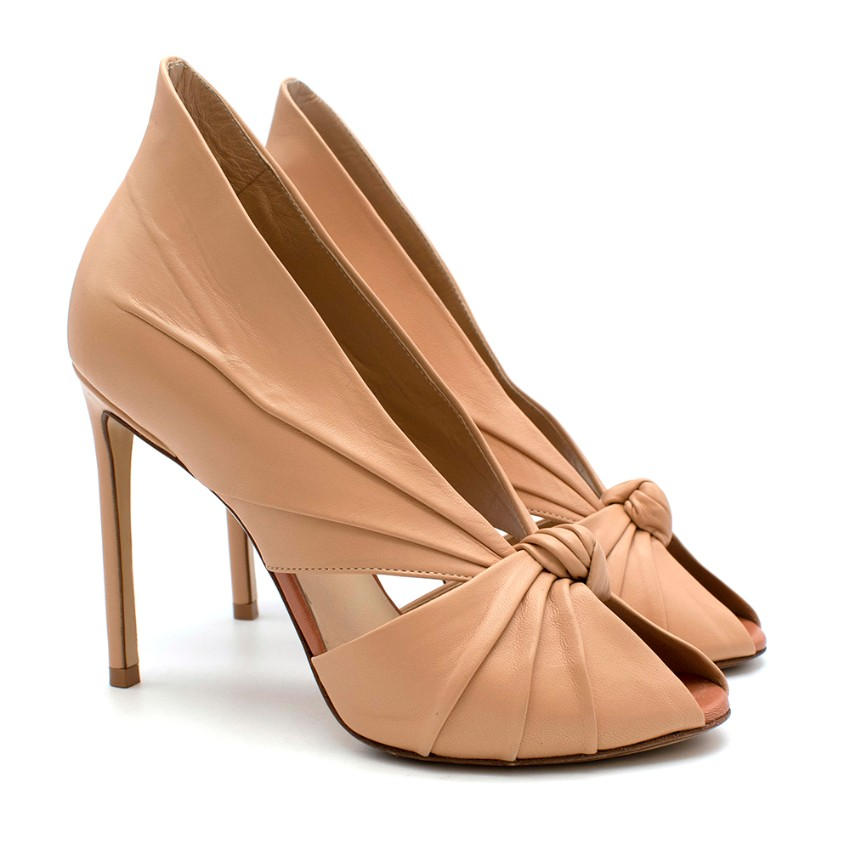 Fransesco Russo Stiletto Knotted Nude Pumps