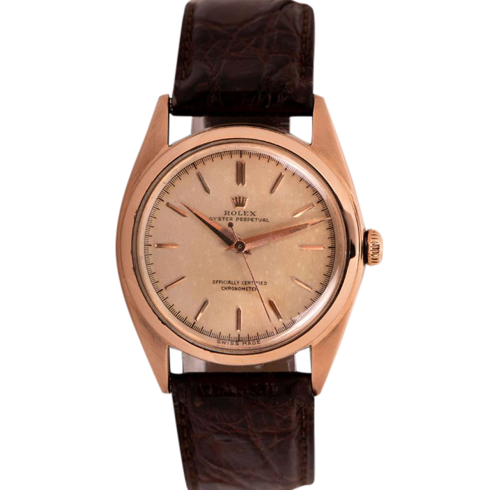 Rolex Oyster Perpetual Bubbleback 18k Rose Gold Vintage Watch