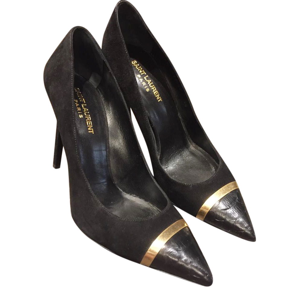 Saint Laurent black & gold detail suede pointed pumps