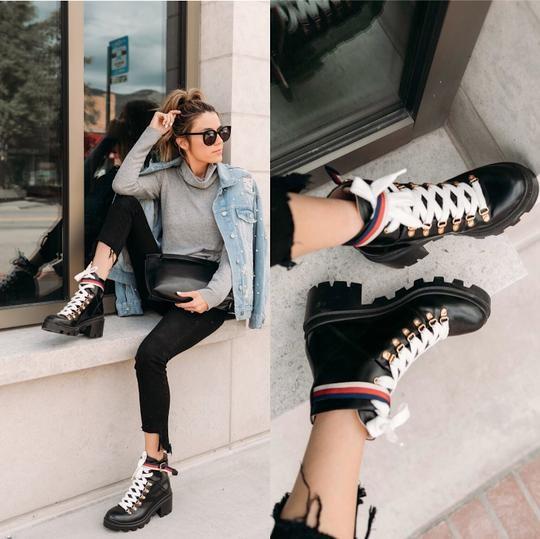 Gucci Sylvie Web Laceup Black Leather