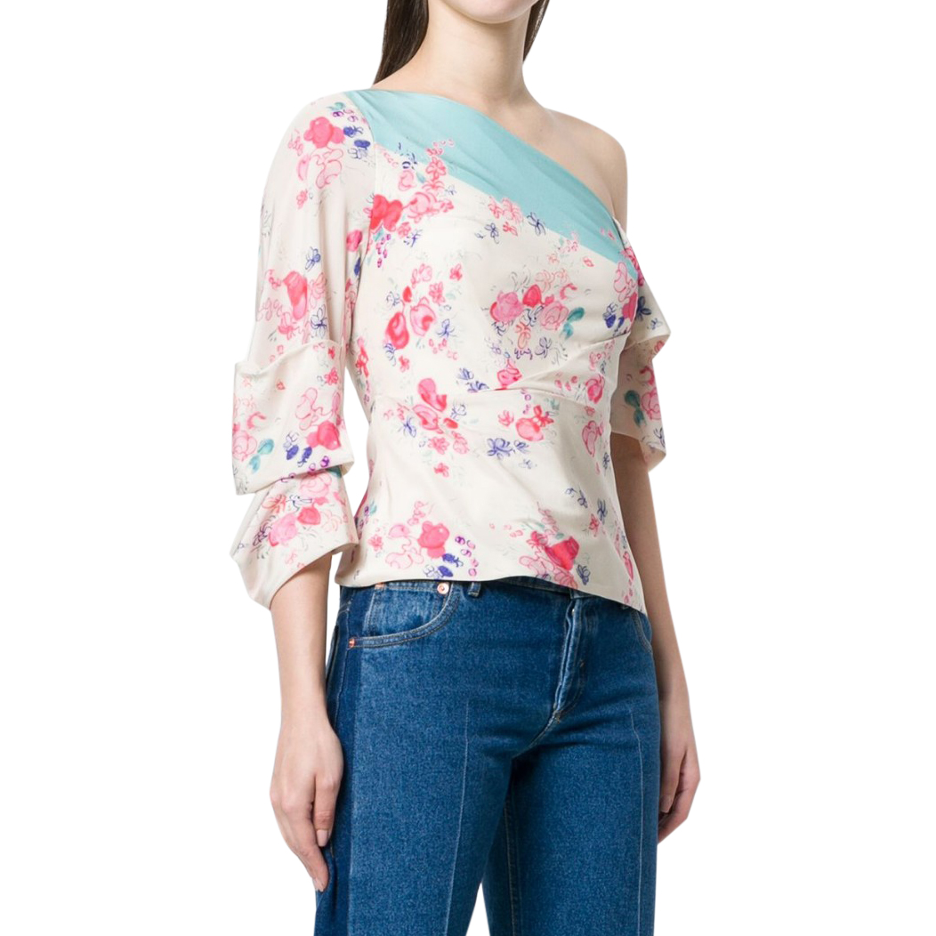 Vilshenko cream silk floral off-shoulder blouse