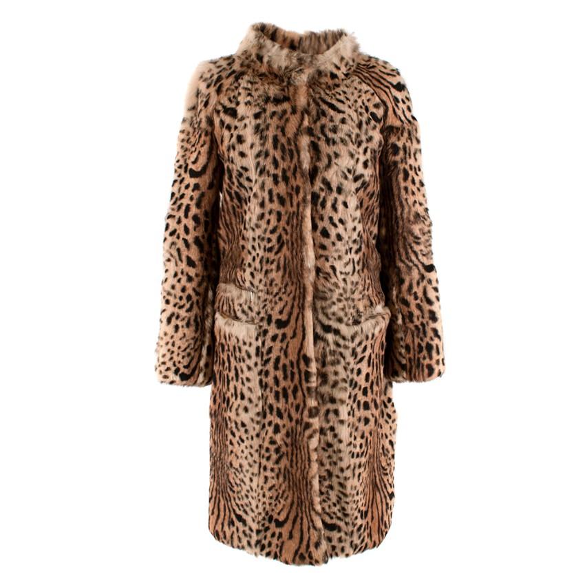 Joseph  Rabbit Fur Leopard Print Longline Coat