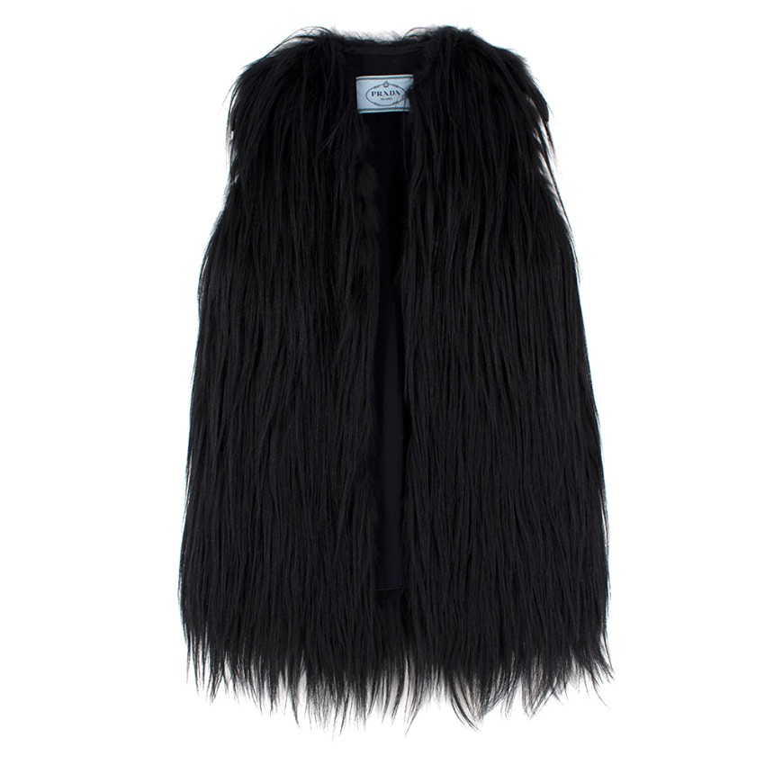 Prada Black Sleeveless Goat & Fox Fur Jacket