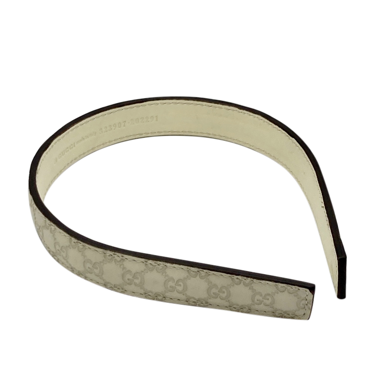 Gucci beige leather monogram headband