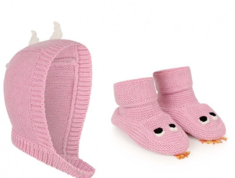 Stella McCartney Kids Pink Knit Bonnet & Booties