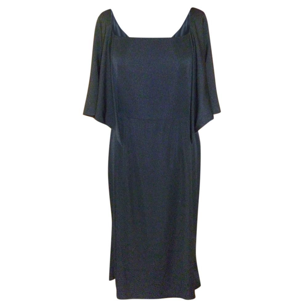 Dolce & Gabbana black silk cape effect dress