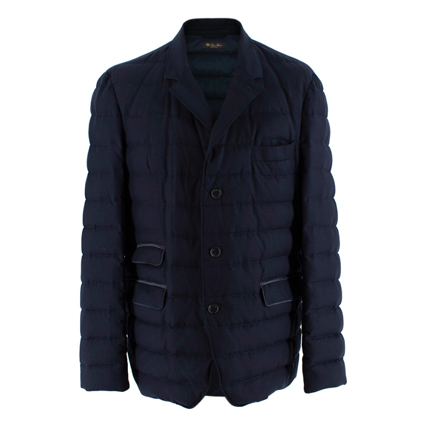 Loro Piana Navy Blue Cashmere Puffer Coat