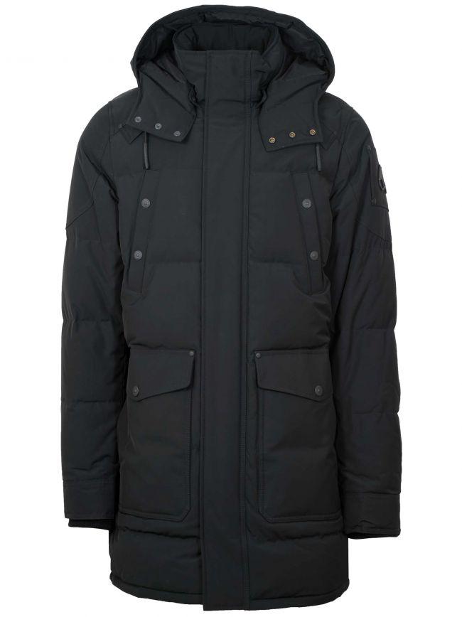 Moose Knuckles Miscou Island black hooded jacket