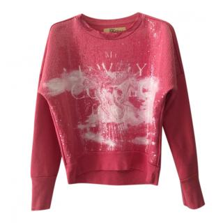 Galliano Kid's Pink Embellished Sweatshirt