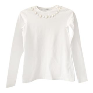 Simonetta Girls White Crystal Embellished Top