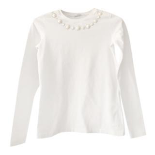 Simonetta Girls White Crystal Embellished Top