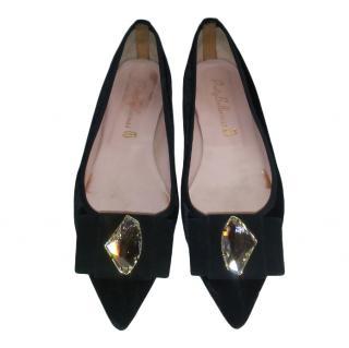 Pretty Ballerinas Black Velvet Crystal Pumps
