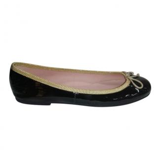 Pretty Balleriinas Black & Gold Ballerinas