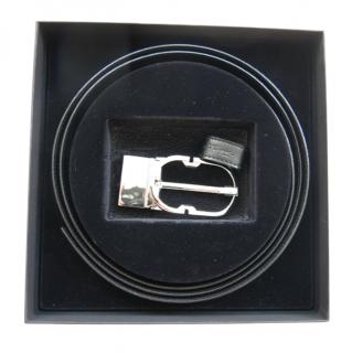 Dupons Black Leather Belt Kit with palladium buckle