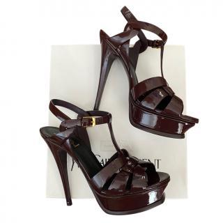 Saint Laurent burgundy tribute sandals