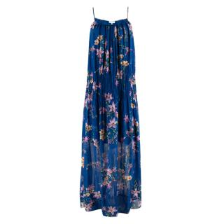 Ghost Blue Floral Pleated Maxi Dress