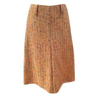 Chanel Orange Tweed A-Line Skirt