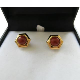 Dupont Men's 24kt Gold Plated Cabochon Cufflinks