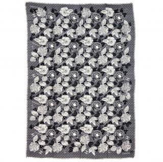 Chanel Grey Floral Print Cashmere Shawl