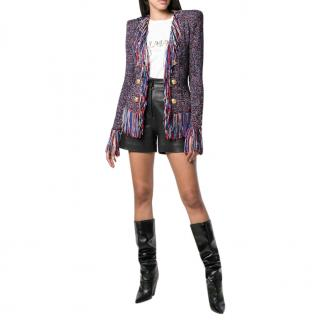 Balmain Multicoloured Tweed Fringed Jacket