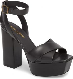 Saint Laurent Farrah black leather platform sandals