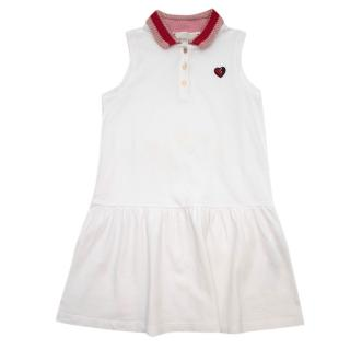 Gucci Girls' Sleeveless White Heart Embroidered Dress