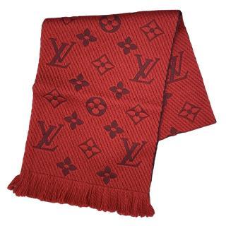 Louis Vuitton Red Logomania Shine Scarf Ruby