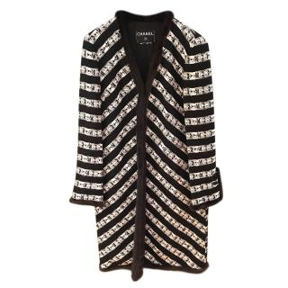 Chanel Black & White Tweed Mink Trim Coat
