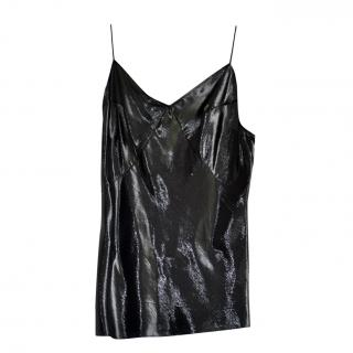 Saint Laurent black lame silk-blend runway top