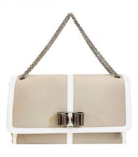 Christian Louboutin beige leather jumbo sweet charity bag