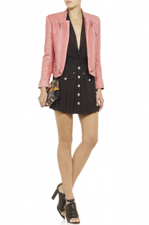 Balmain Pink Quilted Leather Biker Jacket
