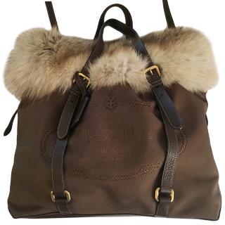 Prada Brown Suede Fox Fur Trim Tote Bag