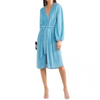 Retrofete Audrey velvet-trimmed sequined chiffon wrap dress