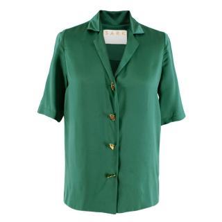 S.A.R.K Dietrich Green Silk Shirt